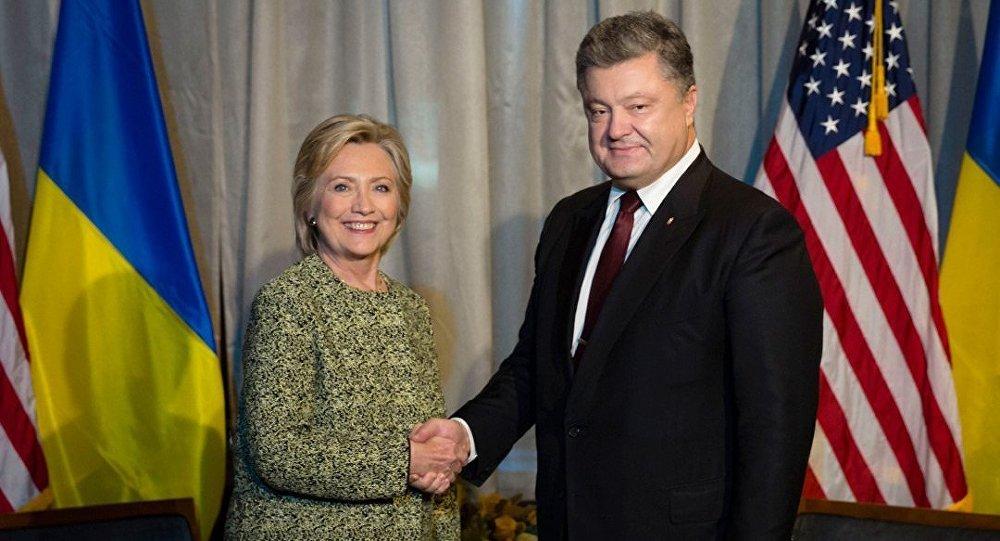 O encontro entre Hillary Clinton Pyotr Poroshenko