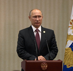 Presidente russo Vladimir Putin durante discurso