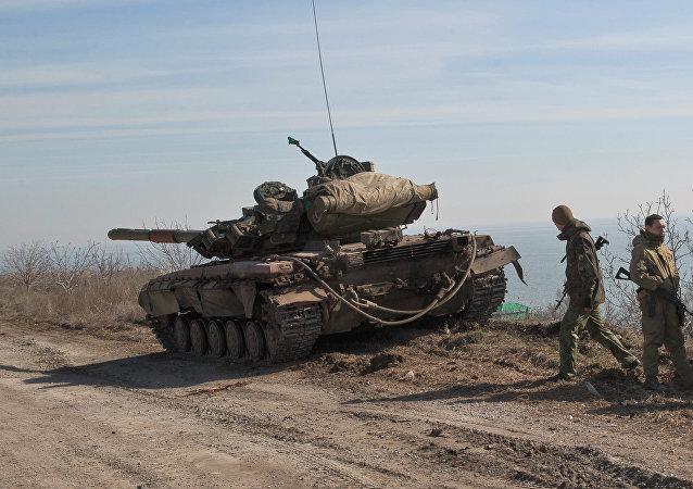 Soldados ucranianos em Donbass
