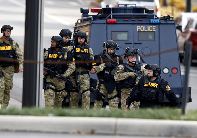 Polícia no campus da Universidade Estadual de Ohio