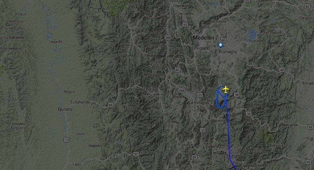 Imagem do site de rastreamento de voo Flightradar24