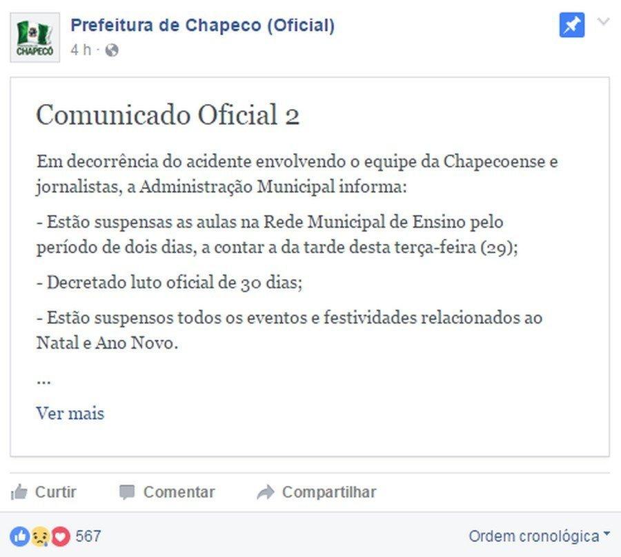 Comunicado Oficial da Prefeitura de Chapecó