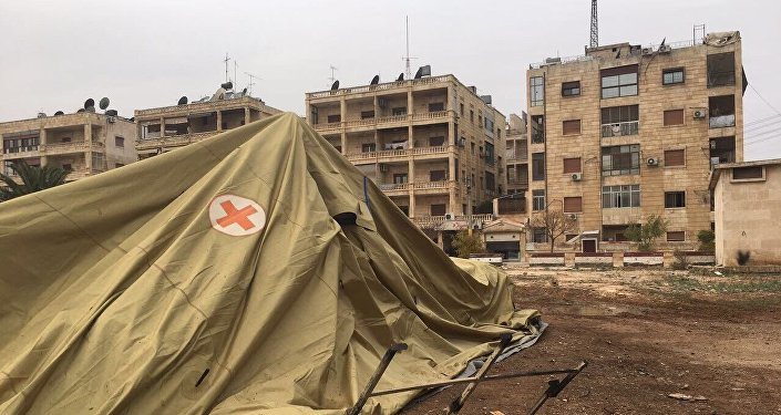 O local do hospital móvel do Ministério da Defesa da Rússia em Aleppo, atacado em 5 de dezembro de 2016