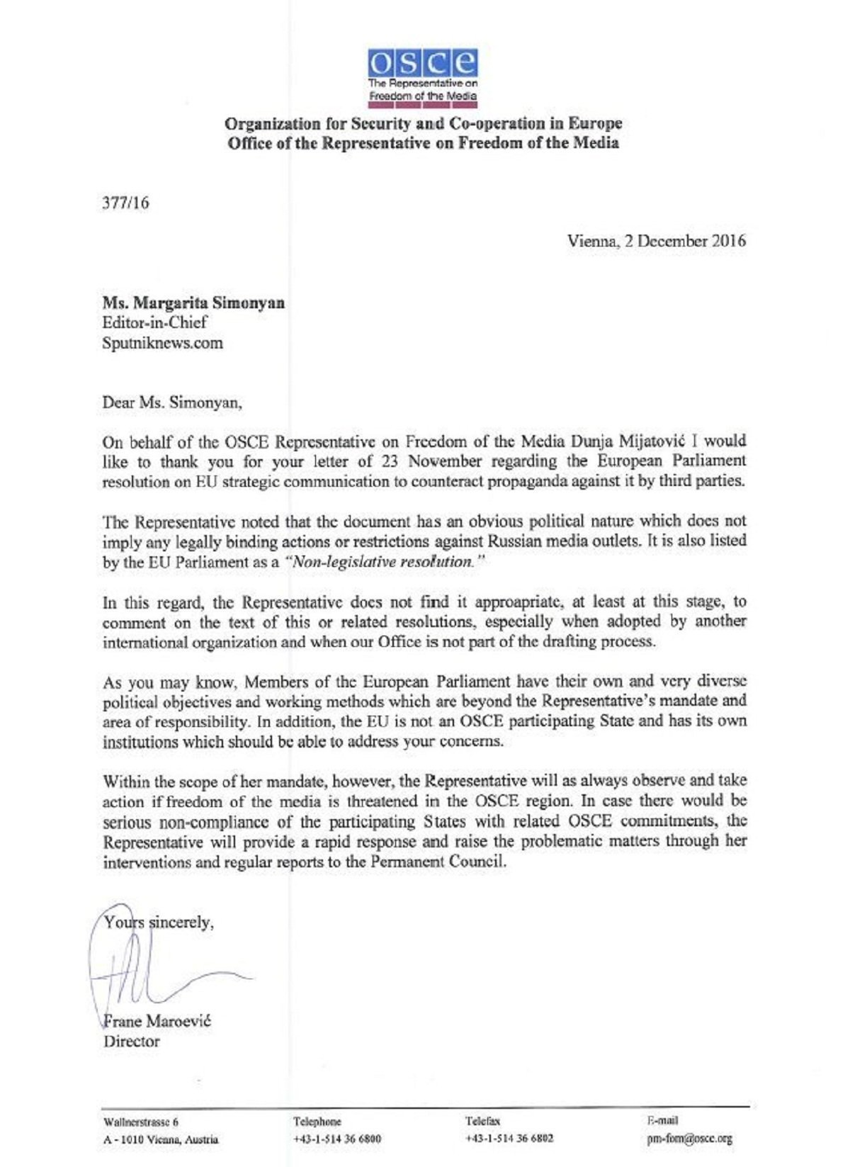 Carta da OSCE à Sputnik