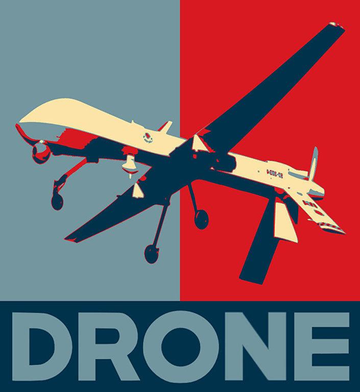 Drone: paródia do cartaz Hope de Shepard Fairey, que simbolizou a campanha eleitoral de Obama em 2008