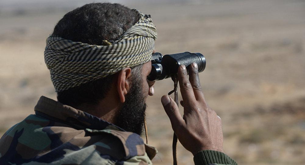 Um soldado do Exército Sírio está vigilando as posições dos militantes, a 20 km de Palmira, na Síria (foto de arquivo)