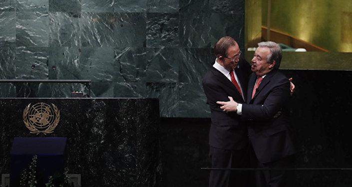 Juramento do secretáro-geral eleito da ONU, Antonio Guterres, na Assembleia Geral das Nações Unidas