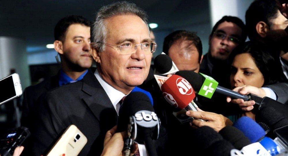Senador Renan Calheiros (PMDB-AL) concede entrevista sobre votação de abuso de autoridade