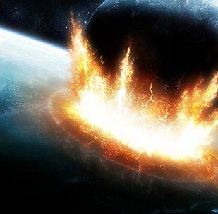 Um retrato do hipotético colapso entre um asteroide e a Terra
