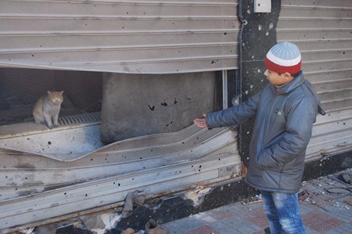 Crianças de Aleppo: Yushia com seu gato