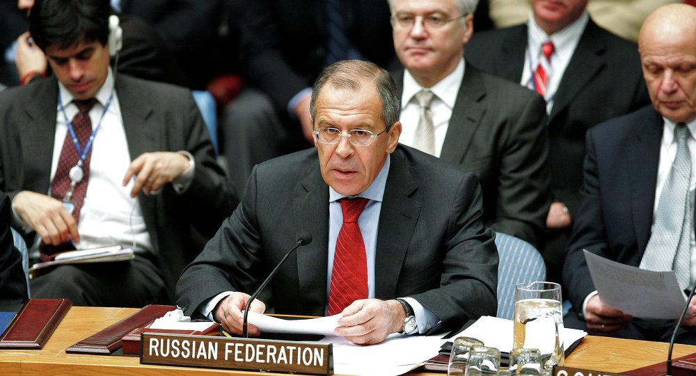 Chanceler russo Sergei Lavrov em reunião do Conselho de Segurança da ONU em Nova York