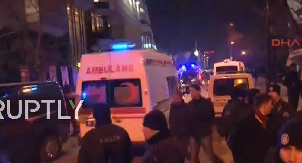Cena perto de onde o embaixador russo na Turquia Andrei Karlov foi assassinado