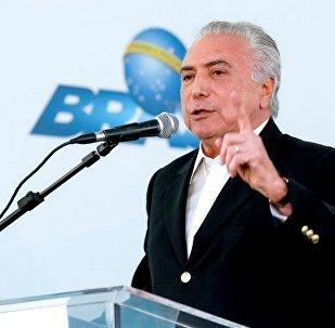 Michel Temer durante cerimônia de entrega de habitacionais em São Paulo