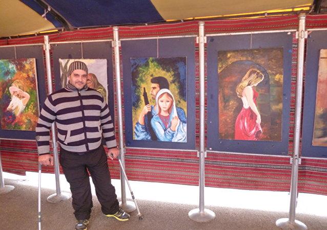 Pintor paralisado sírio, Shadi Suleiman