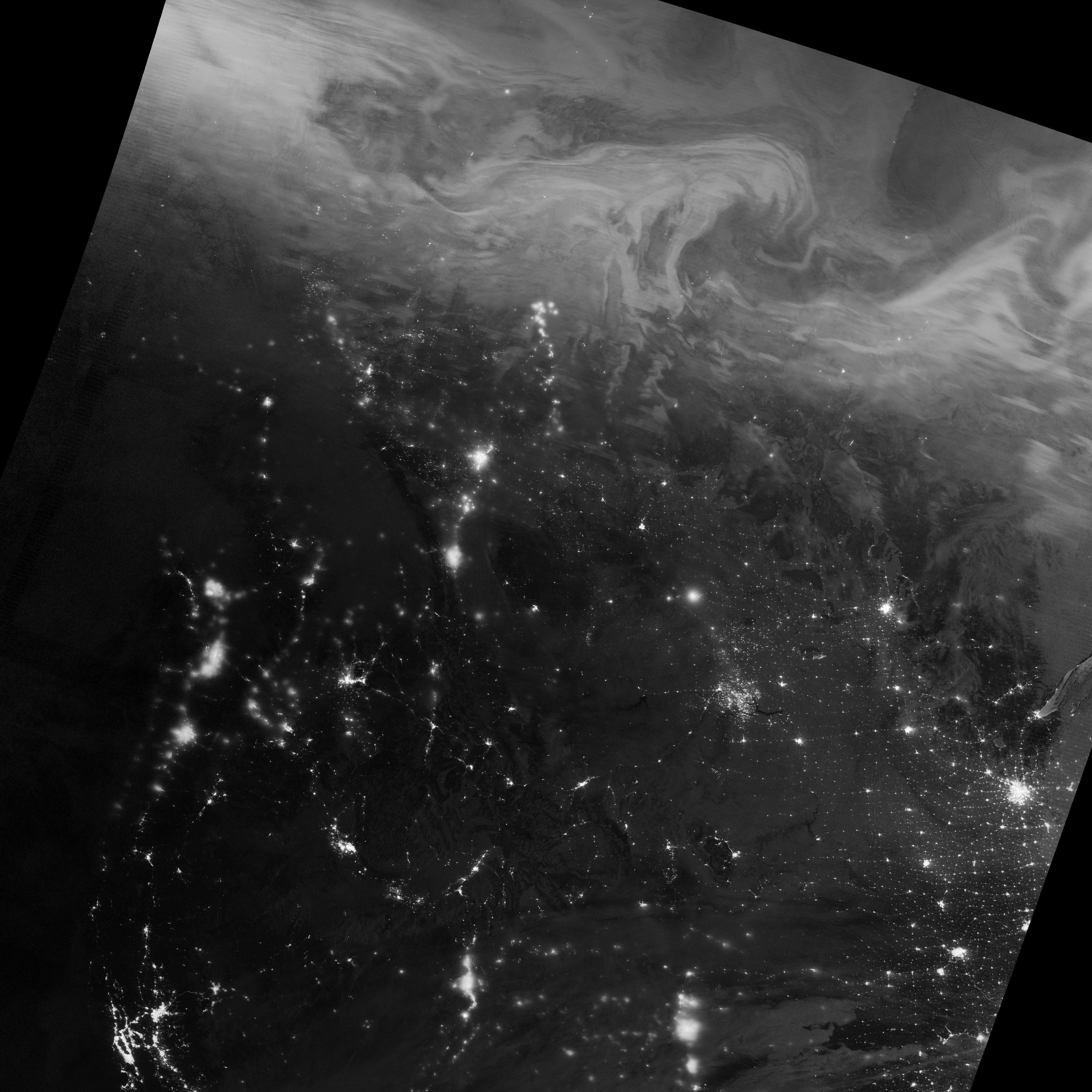 Imagem da aurora boreal sobre o Canada de 22 de dezembro tirada pelo satélite da NASA que usa o sensor Visible Infrared Imaging Radiometer Suite (VIIRS)
