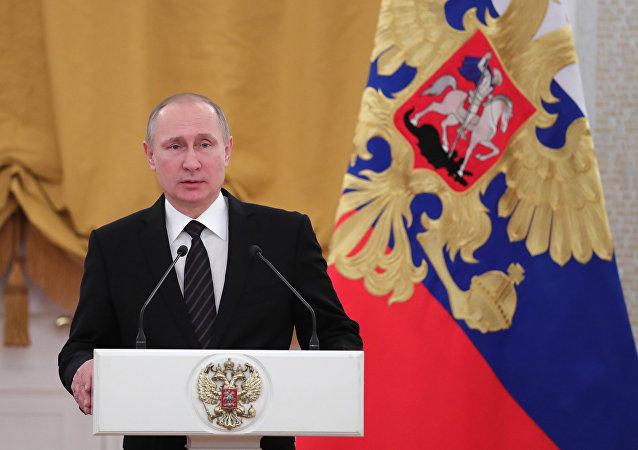 Presidente russo, Vladimir Putin, durante discurso na celebração tradicional no Kremlin