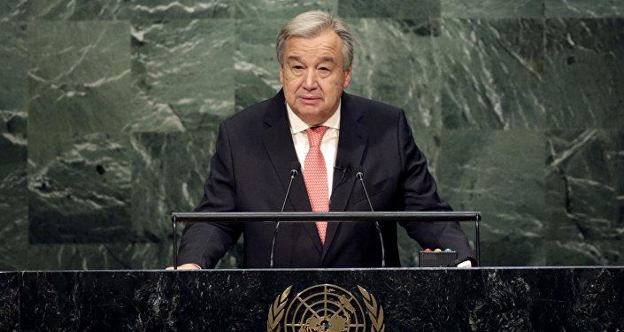 António Guterres, novo secretário-geral da ONU, discursa durante a cerimônia de designação, em 12 de dezembro de 2016