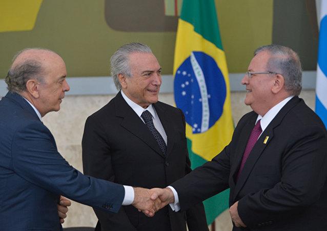 O presidente Michel Temer recebe em cerimônia no Palácio do Planalto a credencial do embaixador Kyriakos Amiridis, da Grécia (arquivo)