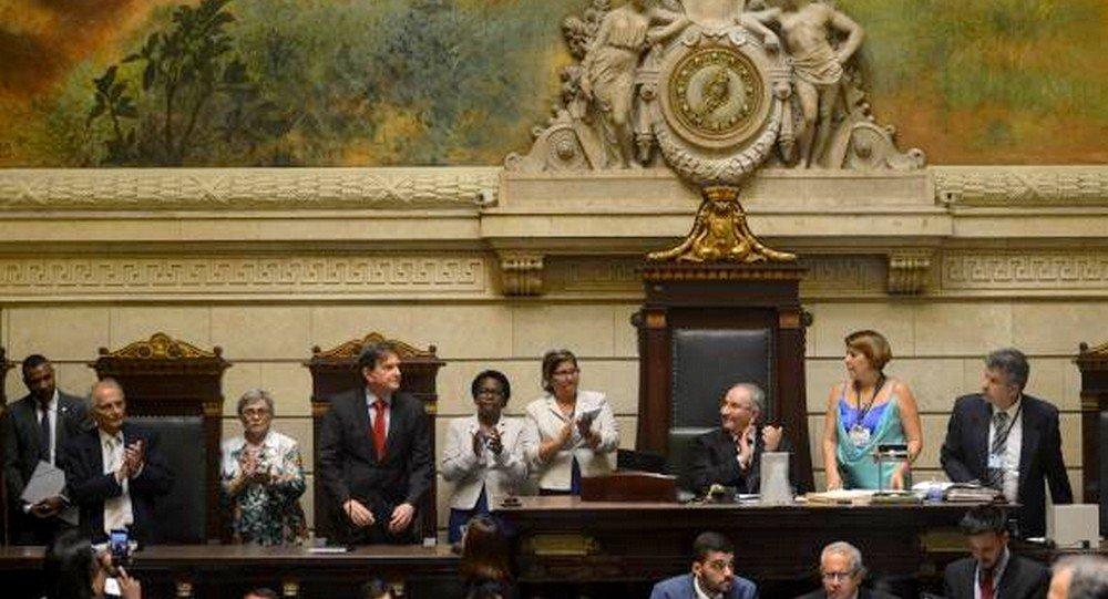 Cerimônia de posse do Prefeito Marcelo Crivella o seu vice, Fernando Mac Dowell e vereadores na Câmara