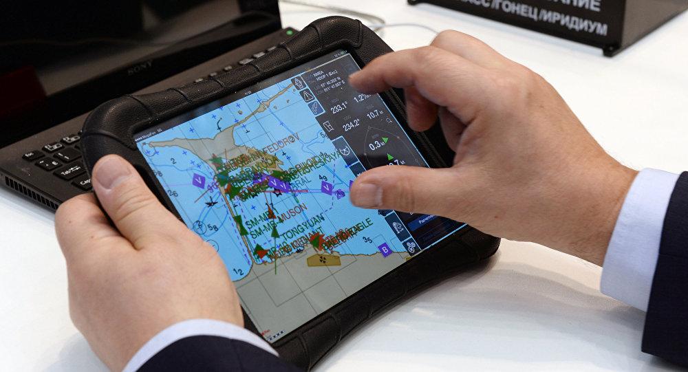 Sistema russo Glonass vista como parte do navegador na exposição internacional Transporte da Rússia em Moscou