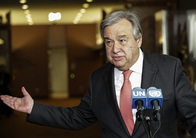 António Guterres, secretário-geral da ONU, durante discurso em Nova York (foto de arquivo)