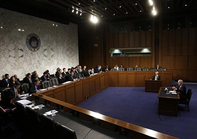 Robert Cardillo, diretor da Agência Nacional de Informação Geoespacial, testemunha em frente da Comissão Especial do Senado para Inteligência na Colina do Capitólio em Washington, DC, em 27 de setembro de 2016