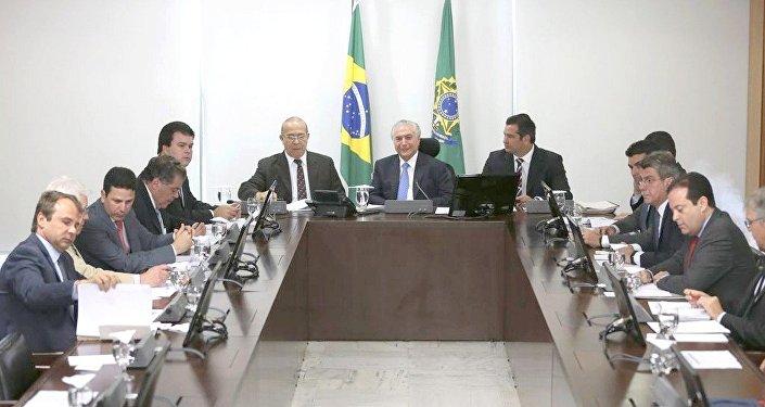 O presidente Michel Temer coordena reunião do Núcleo de Infraestrutura,no Palácio do Planalto