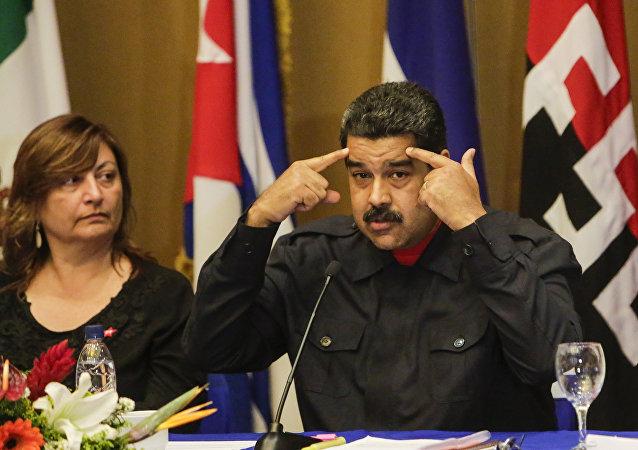 Presidente da Venezuela, Nicolás Maduro, fala e gesticula durante um encontro com o Comitê Executivo do Foro de São Paulo em 11 de janeiro de 2017