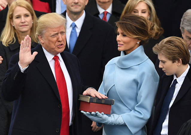 Presidente dos EUA, Donald Trump, durante cerimônia de posse