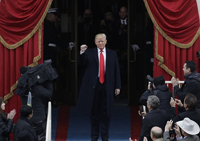 Presidente dos EUA, Donald Trump, duarnte cerimônia de posse