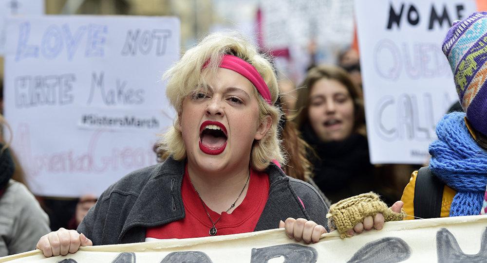 Marcha de mulheres na Barcelona (Espanha). 21 de janeiro, 2017