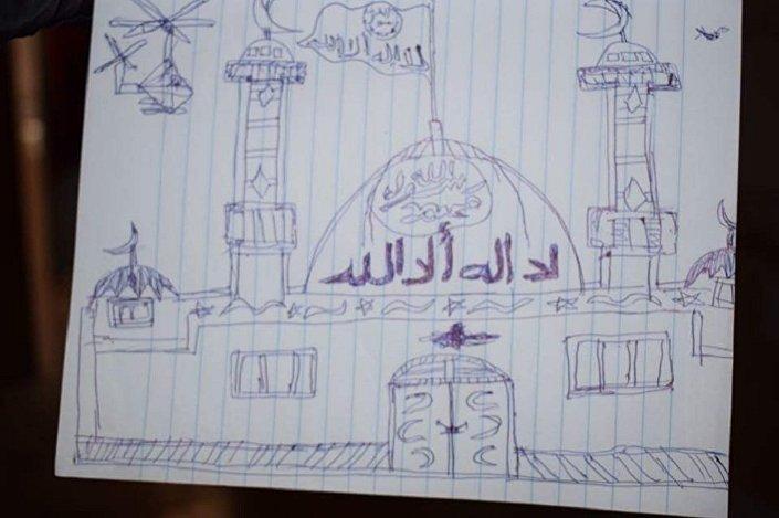 Desenho de uma mesquita com a bandeira do Daesh levantada e dois helicópteros da coalizão internacional, feito por uma criança do califado do Daesh