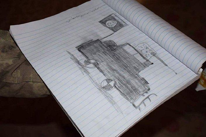 Carro preto dos terroristas equipado com metralhadora, desenhado por jovem aprendiz do terrorismo