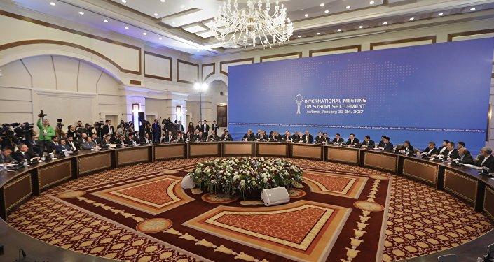 Delegações da Rússia, Irã e Turquia à mesa das negociações em Astana, no Cazaquistãom 23 de janeiro de 2017