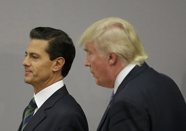 U.S. Republican presidential nominee Donald Trump and Mexico's President Enrique Pena Nieto walk out after finishing a press conference at the Los Pinos residence in Mexico City, Mexico, August 31, 2016
