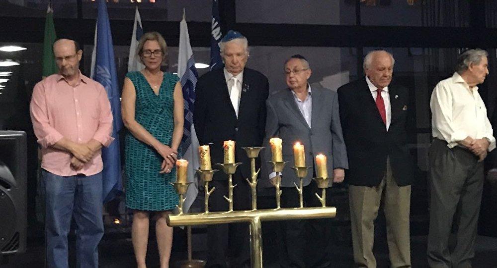 Cerimônia de lembrança do Holocausto no Clube Hebraica no Rio de Janeiro
