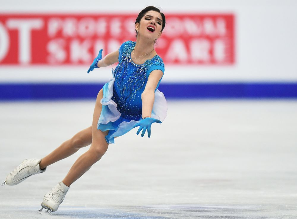 Atleta russa Yevgenia Medvedeva se apresenta no programa curto feminino no Mundial da Europa de Patinação Artística.