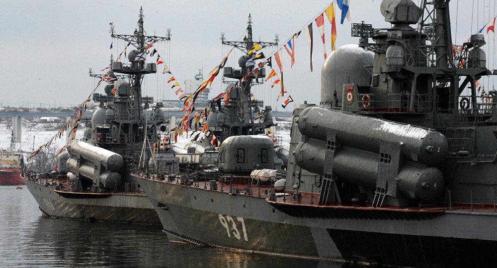 Navios de guerra russos da Frota do Pacífico