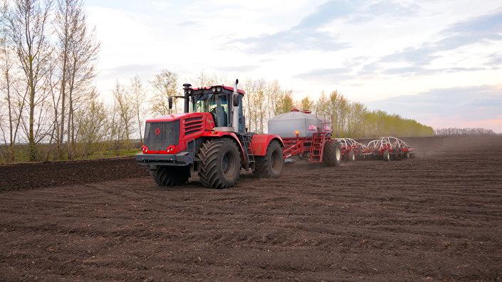 Trator Kirovets lavrando um campo