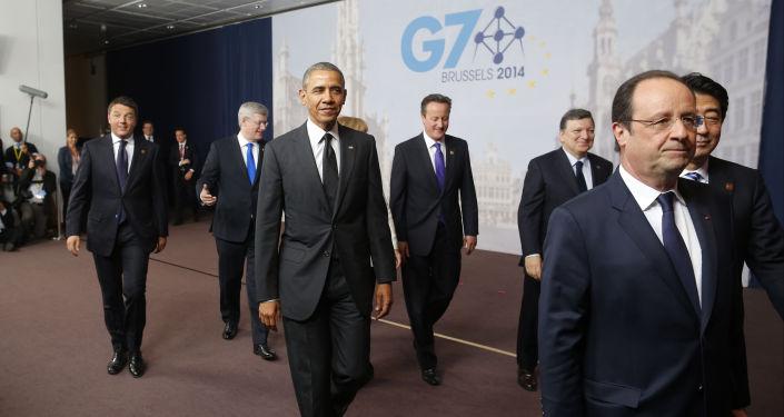 Líderes dos países membros do G7 reunidos em Bruxelas em 2014