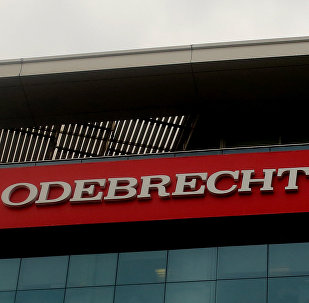 A sign of the Odebrecht Brazilian construction conglomerate is seen at their headquarters in Lima, Peru