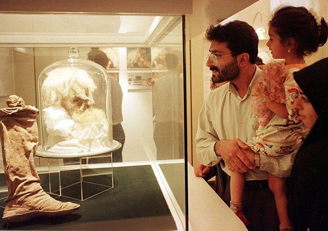 Cabeça do homem de sal exibida no Museu Nacional em Teerã