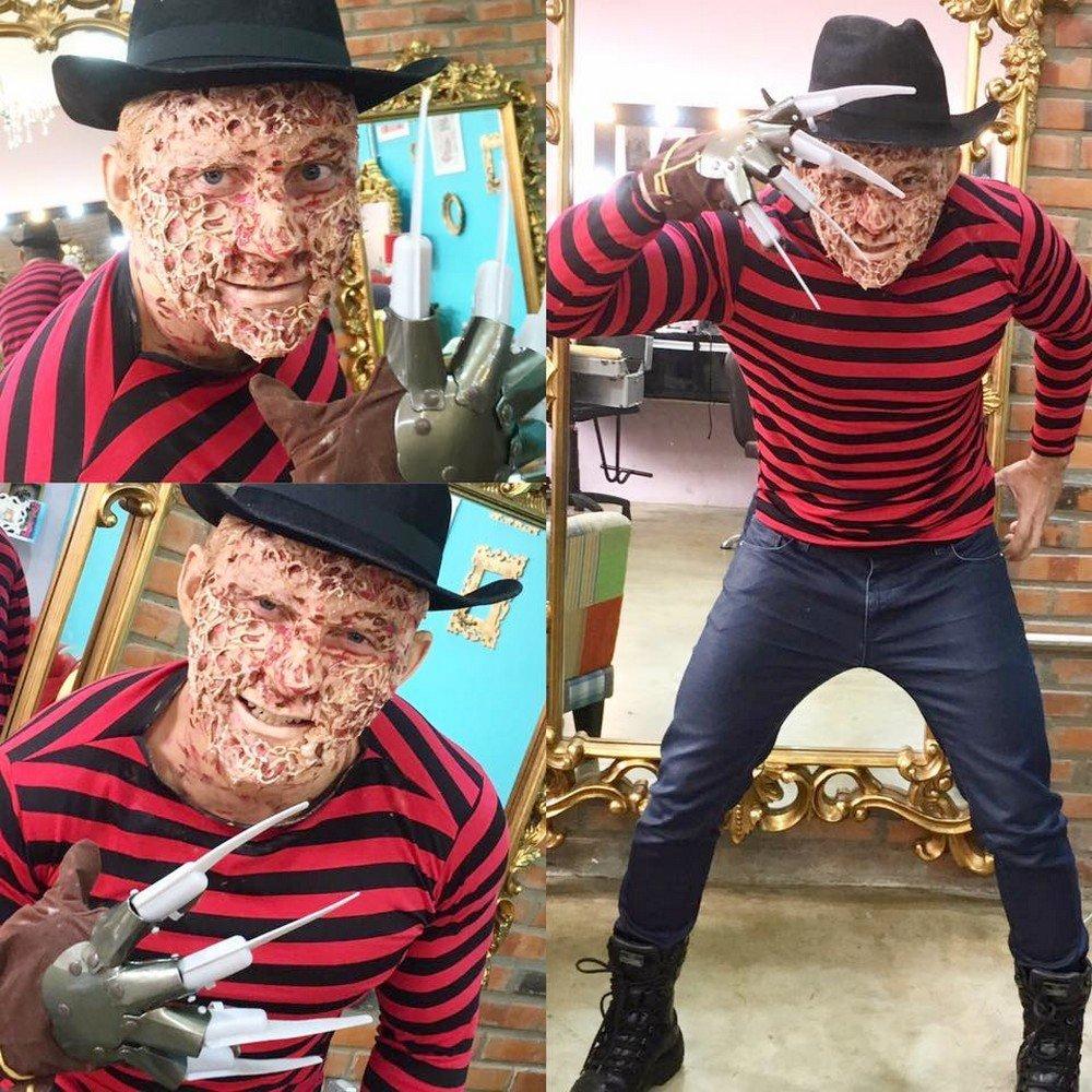 Para recriar Freddy Krueger, a caracterização feita pela maquiadora Annie Isis levou uma hora e foi usado silicone e pele sintética