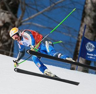 Corrida de esqui. Etapa da Taça da Europa, slalom