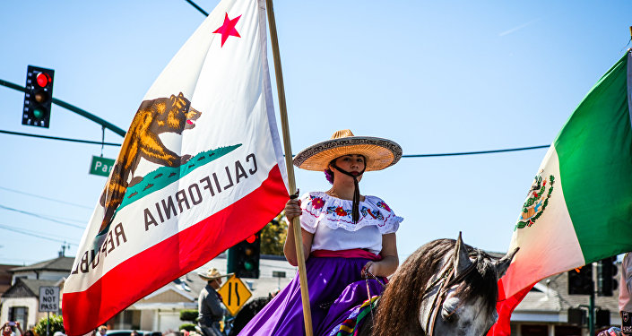 Mulher segura bandeira da Califórnia, parada de 4 de julho, 2016