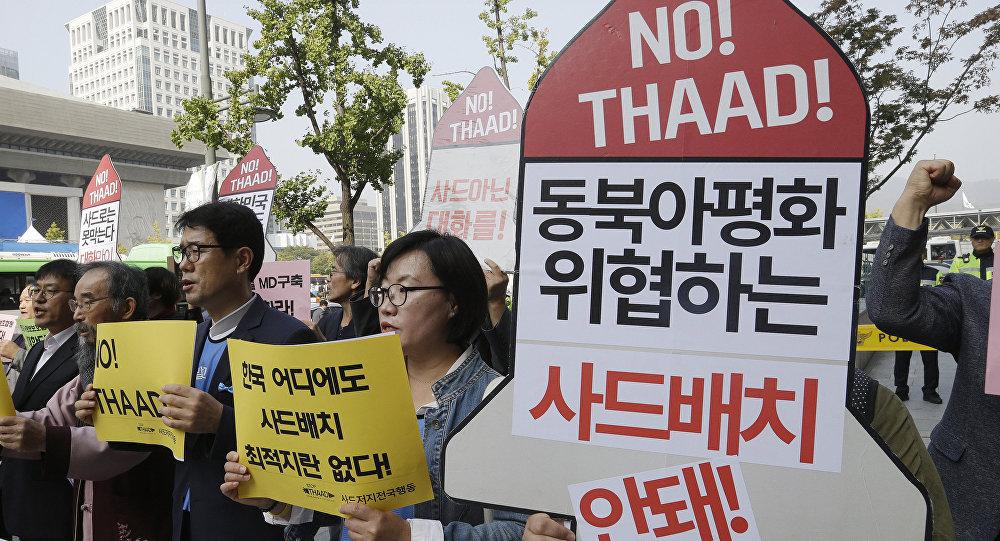 Sul-coreanos protestam contra sistemas THAAD, 19 de outubro de 2016