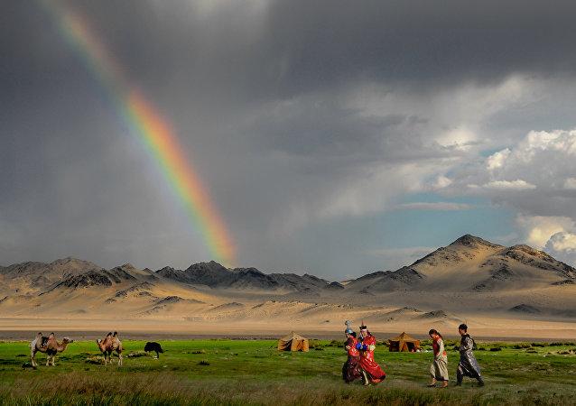 Arco-íris na Mongólia