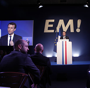 Independent centrist presidential candidate Emmanuel Macron addresses the media during a press conference held in Paris, Thursday, March 2, 2017