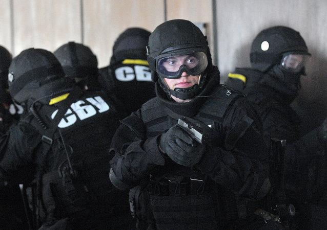 Combatentes do Serviço de Segurança da Ucrânia (SBU, na sigla em ucraniano), órgão responsável pela sanção a Zakhar Vinogradov