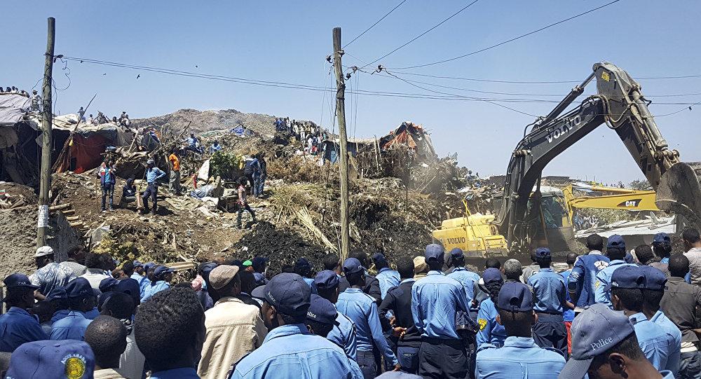 Aterro de Koshe, onde o deslizamento de uma montanha de lixo matou pelo menos 46 pessoas na periferia da capital da Etiópia